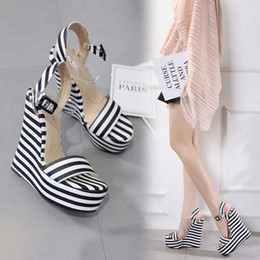 $enCountryForm.capitalKeyWord Australia - Hot Sale-15cm Sexy women platform wedges sandals black white striped PVC strappy shoes designer high heel size 35 to 40