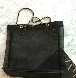 $enCountryForm.capitalKeyWord Australia - Wholesale price Classic white logo shopping mesh chain Bag luxury pattern Travel Bag Women Wash Bag Cosmetic Makeup mesh Case (Anita Liao)