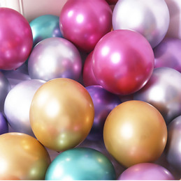 metallic balloons 2021 - 50pcs lot 12inch Metallic Latex Balloons Thick Pearly Metal Chrome Alloy Colors Photograph Wedding Party Decoration Ball