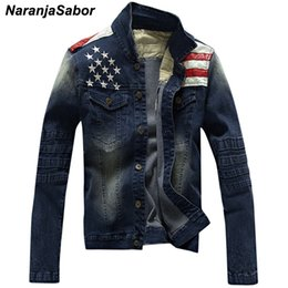 $enCountryForm.capitalKeyWord Australia - NaranjaSabor Men's Denim Jackets Fashion Pocket Star & Striped Slim Fit Jean Jacket Male Outerwear Coats Men Brand Clothing N439