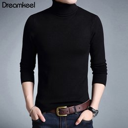 male clothing styles Canada - Solid Color Pullover Winter Mens Turtle Neck Brand Sweater Male Outerwear Jumper Knitted Christmas Distressed Sweater Clothes Y