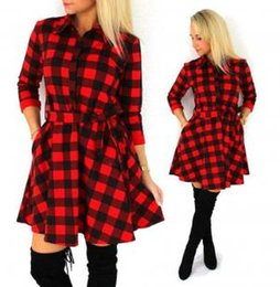 41789276f74 Plaid Dresses Women bandage shirt dress Vintage Turn-down Collar long sleeve  Shirt knee-length Casual Belted Dress GGA1548