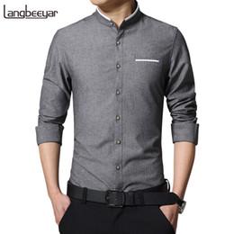 Linen Slim Shirts Australia - New Fashion Casual Long Sleeve Mandarin Collar Slim Fit Shirt Korean Business Mens Dress Shirts Men Clothes M-5xl Q190518