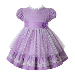 Girl short laces online shopping - Pettigirl Purple Kids Summer Clothes Girls Heart shaped Mesh Princess Dresses Designer Kids With Bow And Double Flowers G DMGD112 B481