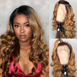 long dark wavy hair NZ - Deep Part Ombre Lace Wigs 1B 27 150% Brazilian Body Wavy Lace Front Human Hair Wigs Dark Roots Honey Blonde Lace Front Wig