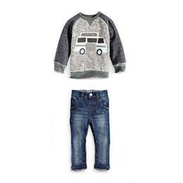 Wholesale cowboy clothes set for sale – designer Kids Boy Clothing Sets Car Cowboy Children Wear Long Sleeve O Neck Trousers Car Cartoon Cotton Top Jeans Set