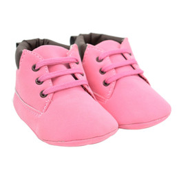 Discount suede leather baby moccasins - Toddler Baby Girl Pink Color shoelace Soft Sole Anti-slip Suede Leather Shoes Infant Boy Girl Toddler's Causal Mocc