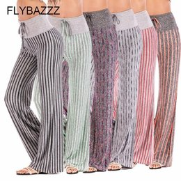 Discount wide leg yoga pants plus size Women Stripe Print Yoga Pants Loose Wide Leg Full Pants High Waist Running Workout Trousers Flared Slim Yoga Plus Size
