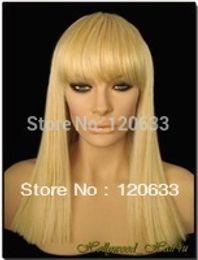 $enCountryForm.capitalKeyWord Australia - Wholesale Hair Nature Cheap Platinum Blonde Mix Wig with Bangs Kanekalon Heat Resistant Synthetic Fiber Hair wigs virgin pad