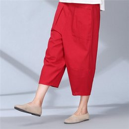 $enCountryForm.capitalKeyWord NZ - women calf length linen pants wide leg pants elastic waist pants loose solid spring summer trousers for women plus size A1