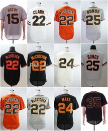 crawford jerseys UK - Stitched Jerseys Giants #15 Bruce Bochy 24 Willie Mays 25 Bonds 35 Crawford 40 Madison Bumgarner Black Orange White Grey Baseball Jersey