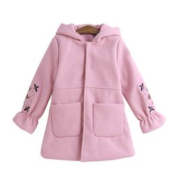 $enCountryForm.capitalKeyWord NZ - Girls Princess Woolen Coat Embroidery Hooded Spring Fall Jacket Cute Pink Red Countryside Clothes For Kids 3-12T Cloaks Clothes