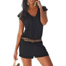 womens sleeveless rompers Australia - 6 Colors Summer Beach Style Jumpsuits Womens Sexy Deep V-Neck Sleeveless Pocket Playsuits Casual Women Rompers Black Shorts