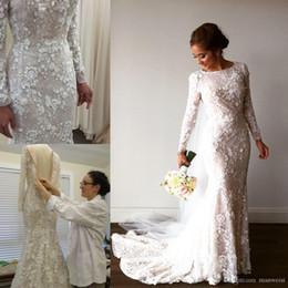 $enCountryForm.capitalKeyWord Australia - Vintage Mermaid Arabic Beige Ivory Lace Wedding Dresses Long Sleeves 3D Floral Applique Pearls Muslim Bridal Gowns Sweep Train Bride Dress