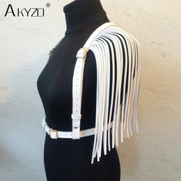 white harness top NZ - Akyzo Women Pu Leather Crop Top Fashion Adjustable Waist Harness Bondage Belt Tassel Costume Party Stage Performance Tank Top Y19042801