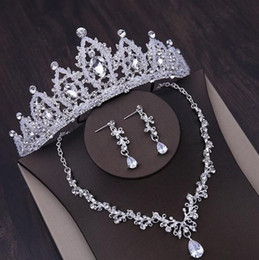 Necklace three crosses online shopping - Best selling and most beautiful bridal necklace crown three piece set handmade crystal crown jewelry headdress earrings set