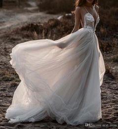 $enCountryForm.capitalKeyWord UK - 2019 Greek Style Bohemian Beach Wedding Dresses Boho Bridal Gowns robes de soirée Plunging Sheer V-Neck Open Back