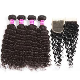 Wavy Curly Hair Wefts Australia - 4*4 lace hair curtain water wave human wigs Brazilian Virgin Hair Wefts Wet and Wavy Bundles Curly Weave human hair bundles