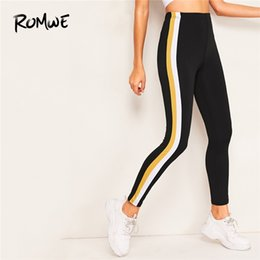 $enCountryForm.capitalKeyWord Australia - Romwe Sport Black Color-block Side Skinny Leggings Women Training Running Pants Active Wear Workout Exercise Crop Yoga Tights