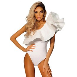 One Shoulder Ruffles Jumpsuit Australia - One Shoulder Ruffles Fitness Bodysuit Women Clothing Fashion Sexy Hot Slim Bodycon Jumpsuits Solid Ladies Bodysuits Rompers