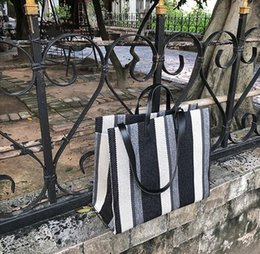 gate style Australia - Instagram super bag autumn canvas 2019 new east gate fashion color stripe tote big handbagBeach Bags