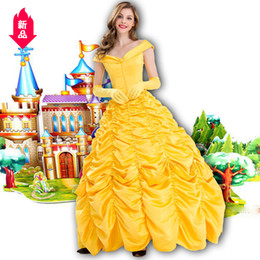 Belle Beauty Beast costume online shopping - Fairy Tales Yellow Belle Princess Court Longuette Film Beauty And Beast Baer Princess Show Clothes