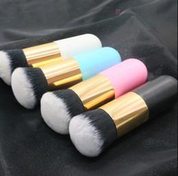 Small Fat Australia - Single makeup brush flat head small fat foundation brush mushroom head black gold BB cream brush beauty makeup tools