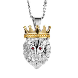3fff53cb461 2019 An crown Lion head Pendant Retro Punk Necklace Nightclub Mens Necklace  Lovers Sport Accessories Hiphop Necklace