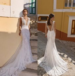 Red lace bodice online shopping - Lian Rokman Wedding Dresses Illusion V Neck Sexy Mermaid Sexy Bridal Gowns Backless Beach Lace Formal Party Wear