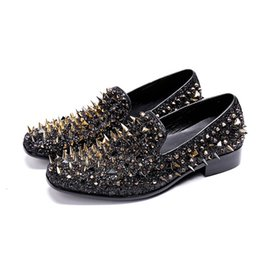 fu le shoes Canada - Fashionable and sexy men's flat shoes with nails le fu shoes black casual Wedding   party   stage shoes 37-48