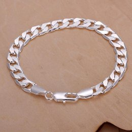 flat snake chains Canada - Hot sale best gift 925silver 8M flat sideways bracelet - Men DFMCH246,fashion 925 sterling silver plated Chain link bracelets high grade