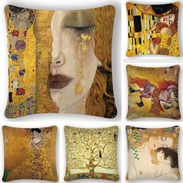 Discount decorative painting patterns 5pcs lot Oil Painting Cushion Cover Gold Pattern Print Pillow Case Vintage Decorative Pillow Cover Sofa Chair Pillow Cas