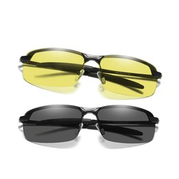 288537cceb Men Photochromic Sunglasses Polarized Driving Glasses Male Change Color SunGlasses  Day Night Vision Half Frame Shades 3043BS2
