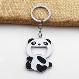 $enCountryForm.capitalKeyWord Australia - Cute Metal Panda Keychain Bottle Opener Keyring Zinc Alloy Key Charms Pendant Ethnic Gift Travel Souvenirs Y0150