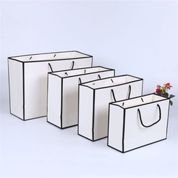 Wholesale clothe shops resale online - White Card Kraft Paper Bag Thicken Clothing Gift Shopping Packaging Pouch Garment Gift Paper Bag with Handles