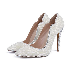 inch heels pumps Australia - 2019 Summer White Pearl Pointy Toe Wedding Banquet Party Shoes 4 Inches Thin Heel Bride Shoes Women Fashion Party Prom Pumps
