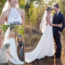$enCountryForm.capitalKeyWord Australia - Spring Summer Boho A Line Wedding Dresses Halter Neck Sexy Open Back Chiffon Long Western Country Wedding Bridal Gowns Cheap 2019