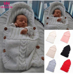 Infant Woolen Australia - Baby Woolen Swaddle Wrap Blanket Envelope for Newborn Infant Girls Boys Knit Crochet Winter Sweater Sleeping Bag Sack