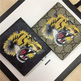 Korean Men Leather Bag Australia - Designer Tote Wallet Real Genuine Leather Luxury Men Short Wallets for Women Men Snake Bee Tiger Wolf Coin Purse Clutch Bags with Box z4133