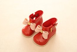 Wholesale Red Shoes Australia - Children's Rain Boots cute cartoon Boys and Girls slip Baby shoes overshoes Water shoes for Children Rubber Shoes
