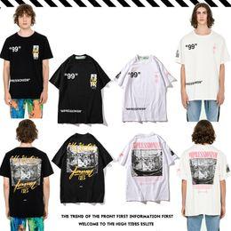 Novo Padrão Primavera Verão Desgaste Embalar Blusas Retro Impressão Puro Algodão de Manga Curta T T-shirt Dos Homens E Mulheres parágrafo venda por atacado