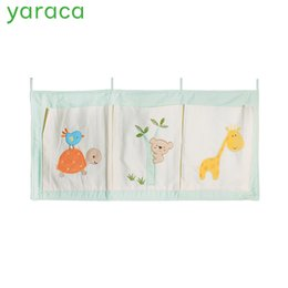 Cot Toys For Babies Australia - Pure Cotton Crib Organizer Baby Cot Bed Hanging Storage Bag Toy Diaper Pocket for Newborn Crib Bedding Set Accessories in Stock