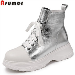 flat leather boot womens 2019 - ASUMER big size 34-42 new genuine leather boots women zip flat platform ankle boots mixed colors autumn winter womens 20