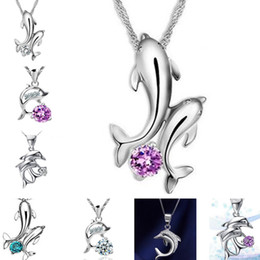 wholesale sterling silver jewelry dolphin NZ - Double Dolphin Love Purple Diamond Crystal Blue White Zircon Sterling Silver Short DJN71 mix order Pendant Necklaces jewelry