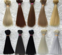 $enCountryForm.capitalKeyWord NZ - 2019 New Doll Wig Hair Pure Multicolour 15cm*100CM 1PC 1 3 1 4 Straight Wig Hair for BJD DIY Accessories Kids Toys Khaki Black