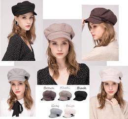 Fallen Hats Australia - Stand Focus Women Cabbies BakerBoy Gatsby Hat Newsboy Cap Ladies Fashion 50% Wool Tweed Twill Fall Winter Beige Gray Brown Khaki Black