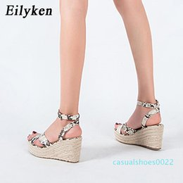 serpentine buckle NZ - Eilyken Summer Women Platform Buckle Strap Sandals Rome Gladiator Fashion High Heels Wedges Serpentine Ladies Open toe Shoes c22