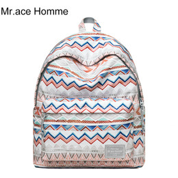 laptop mah UK - MAH Stripe Printing Backpack Women Laptop School Backpack For Girl Waterproof Travel Bag Men Rucksack College Bags Boy