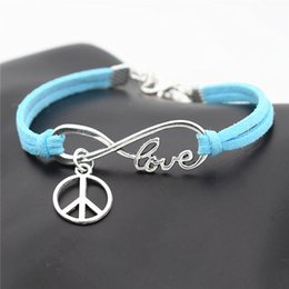 $enCountryForm.capitalKeyWord Australia - Single Layer Styles Blue Leather Suede Bracelet Bangles for Women Men Handmade Infinity Love Peace Symbols Round Pendant Female Male Jewelry