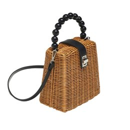 $enCountryForm.capitalKeyWord UK - THINKTHENDO Bead Hand-woven Straw Bag Women Small Tote Bags for Summer Travel Handle Ladies Shoulder for Girl